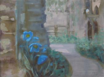 'Garden in the Ruins' (ii) oil by R Payn