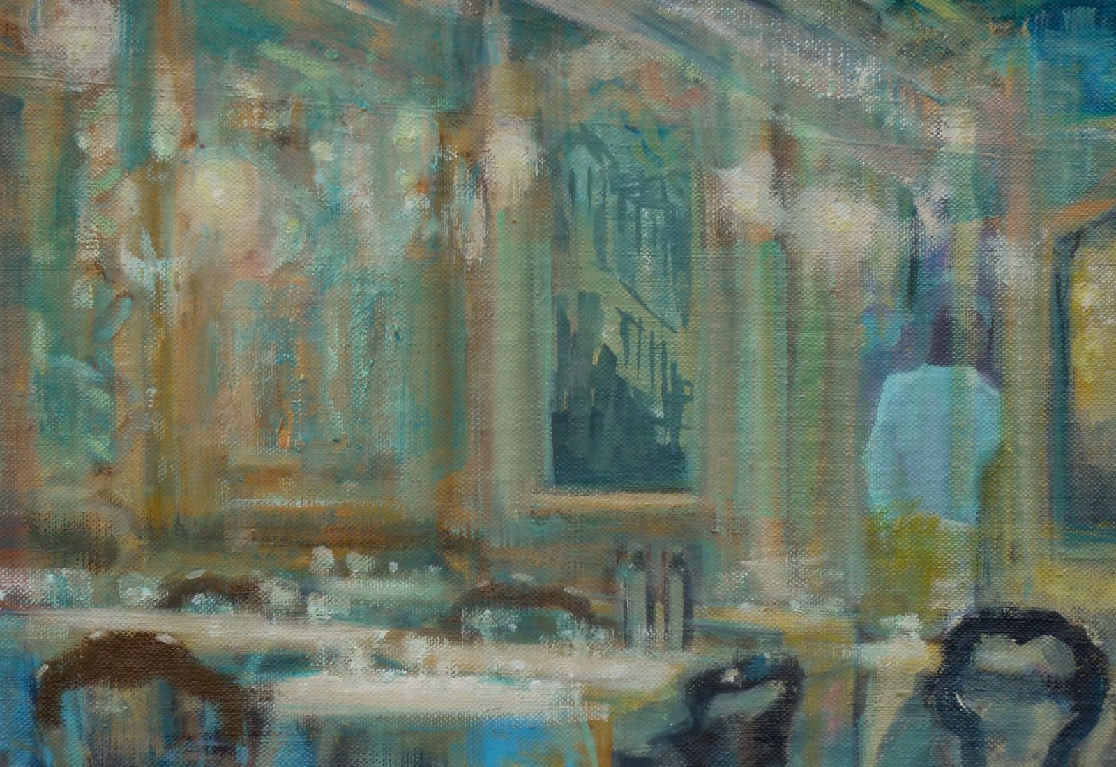 oil painting by Rebecca Payn 'Cafe - Waiter'